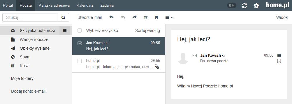 Poczta home.pl - Motyw kolorystyczny - Onyksowy - Przykładowy widok ekranu głównego