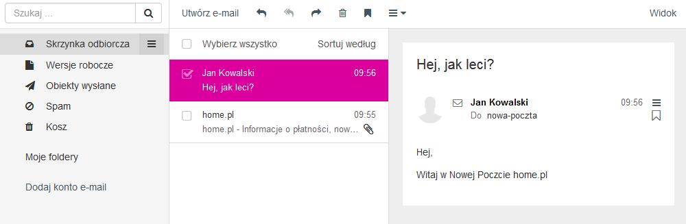Poczta home.pl - Motyw kolorystyczny - Rubelitowy - Przykładowy widok ekranu głównego