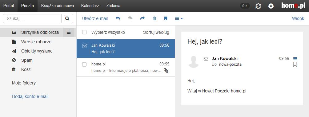Poczta home.pl - Motyw kolorystyczny - Standardowy - Przykładowy widok ekranu głównego