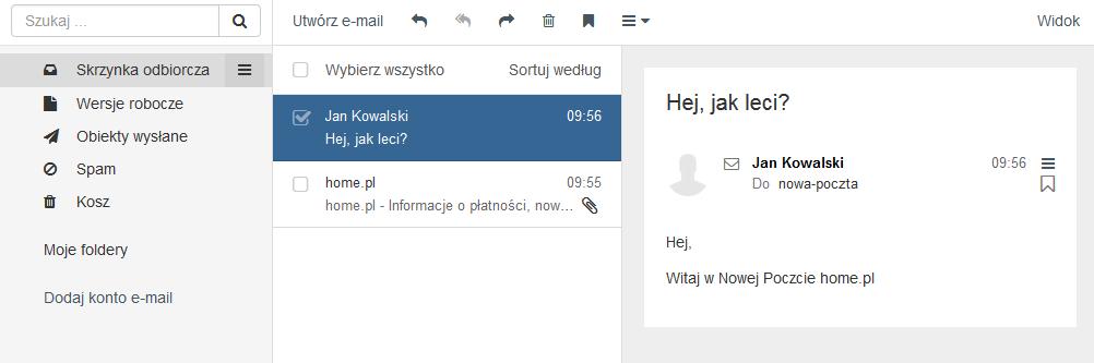 Poczta home.pl - Motyw kolorystyczny - Szafirowy - Przykładowy widok ekranu głównego