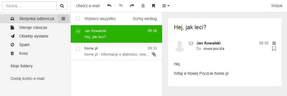 Poczta home.pl - Motyw kolorystyczny - Szmaragdowy - Przykładowy widok ekranu głównego