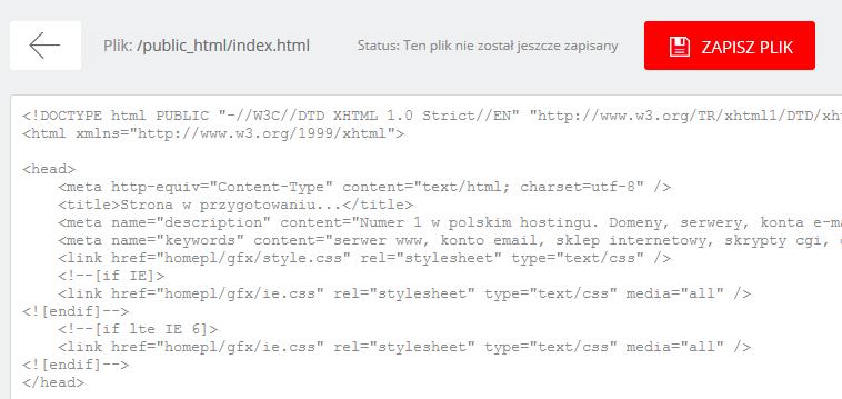 WebFTP - Przykładowy widok przejścia do edycji zawartości wybranego pliku na serwerze FTP