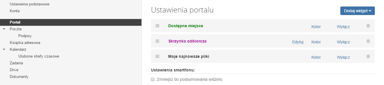 Poczta home.pl - Ustawienia - Wybierz opcje Portal i ustaw widgety