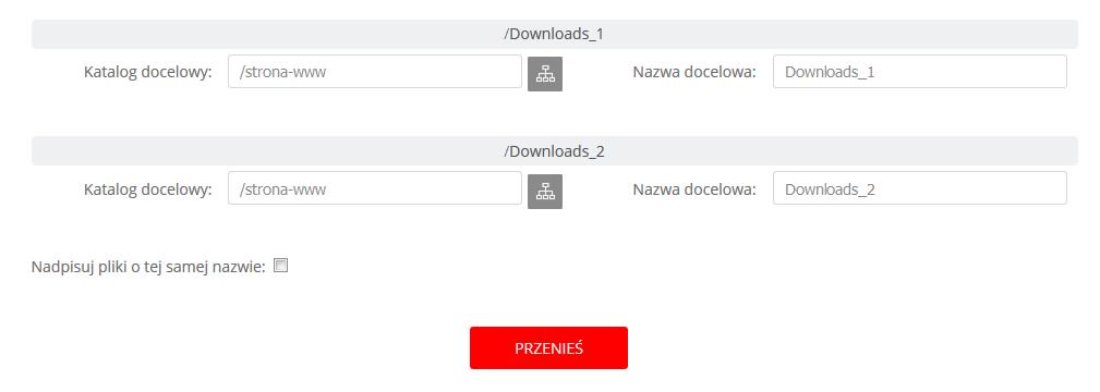 WebFTP - Ekran główny - Widok katalogów - Przenieś - Ustaw dla wszystkich - Zmień nazwy plików lub katalogów w polu Nazwa docelowa