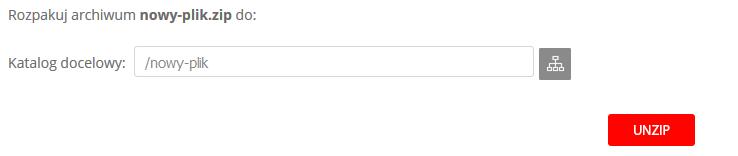 WebFTP - Archiwum ZIP - Rozpakuj ZIP - Kliknij przycisk Lista, aby zmienić folder docelowy, do którego archiwum zostanie wypakowane