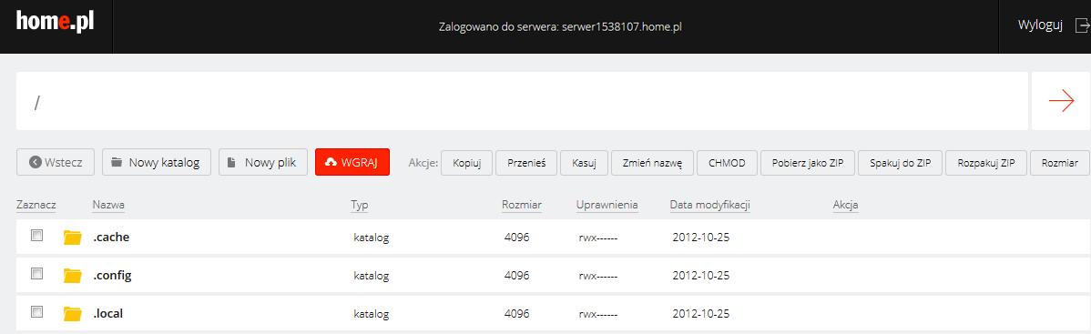 WebFTP - Przykładowy widok ekranu głównego po zalogowaniu się do aplikacji