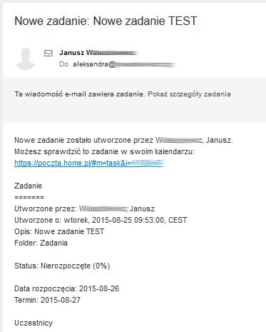 Przykładowa wiadomość e-mail na temat szczegółów zdarzenia