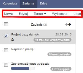 Poczta home.pl - Zadania - Zaznacz zadanie i kliknij w opcje Edytuj