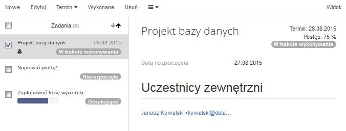Poczta home.pl - Zadania - Kliknij w zadanie aby wyświetlić jego podgląd