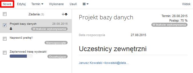 Poczta home.pl - Zadania - Za pomocą opcji Nowe rozpocznij dodawanie nowego zadania