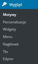 Panel WordPress - Wybierz opcję menu Wygląd