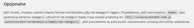Panel WordPress - Ustawienia - Bezpośrednie odnośniki - Popularne ustawienia - Opcjonalne - Utwórz własny format odnośników URL dla kategorii i tagów