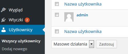 WordPress - Panel Administracyjny - Wybierz opcję menu Użytkownicy