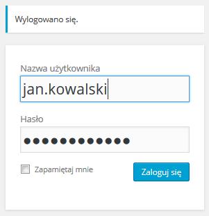 WordPress - Panel Administracyjny - Okno logowania - Zaloguj się ponownie, używając nowych danych do logowania