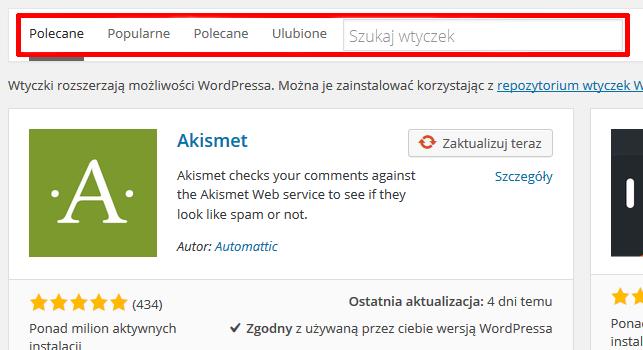 Panel WordPress - Wtyczki - Dodaj nową - Wyszukiwarka dodatków - Wpisz nazwę i wyszukaj wtyczkę