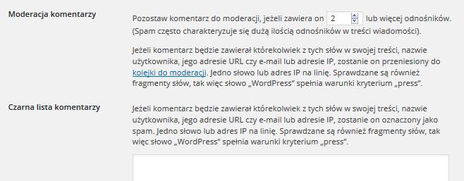 Panel WordPress - Ustawienia - Dyskusja - Moderacja komentarzy - Ustal liczbę odnośników