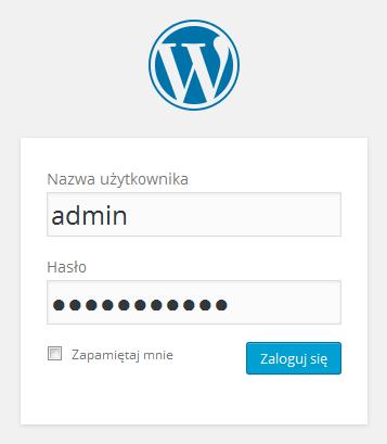 Panel WordPress - Okno logowania - Zaloguj się