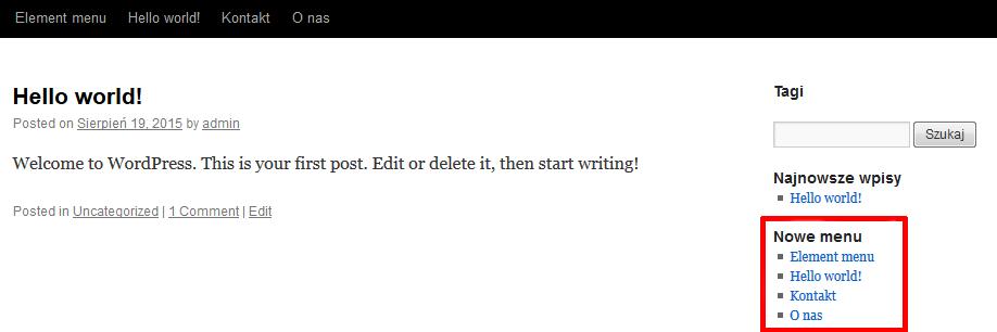 WordPress - Przykładowy widok utworzonego Własnego menu na stronie WWW