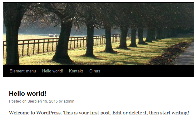 WordPress - Przykładowy widok nowo utworzonego menu na stronie WWW