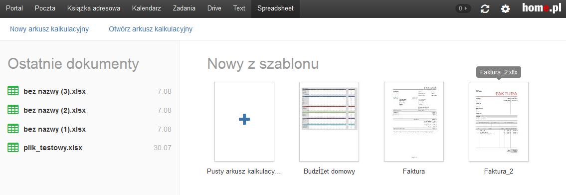 Poczta home.pl - Przykładowy widok ekranu po wybraniu zakładki menu Spreadsheet