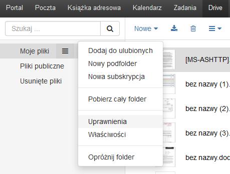 Poczta home.pl - Lista katalogów - Moje pliki - Kliknij na ikonę koła zębatego i wybierz opcję Uprawnienia