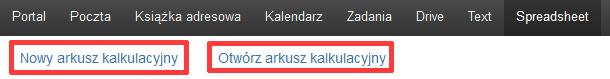 Poczta home.pl - Wybierz przycisk Nowy arkusz kalkulacyjny lub Otwórz arkusz kalkulacyjny