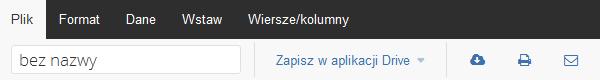 Poczta home.pl - Otwórz arkusz kalkulacyjny - Edytor tekstu online - Wybierz zakładkę Plik i wprowadź nazwę dla dokumentu