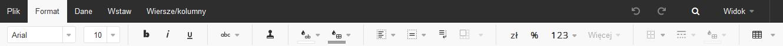 Poczta home.pl - Otwórz arkusz kalkulacyjny - Edytor tekstu online - Wybierz zakładkę Format i znajdź narzędzia służące do formatowania arkusza kalkulacyjnego