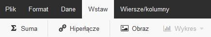 Poczta home.pl - Otwórz arkusz kalkulacyjny - Edytor tekstu online - Wybierz zakładkę Wstaw i wstaw wybrany element do arkusza