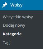 Panel WordPress - Przejdź do opcji menu Wpisy