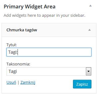 Panel WordPress - Wygląd - Widgety - Dostępne widgety - Chmurka tagów - Nadaj nazwę widgetu