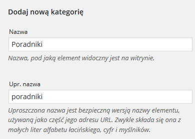 Panel WordPress - Wpisy - Kategorie - Formularz Dodaj nową kategorię - Uzupełnij dane