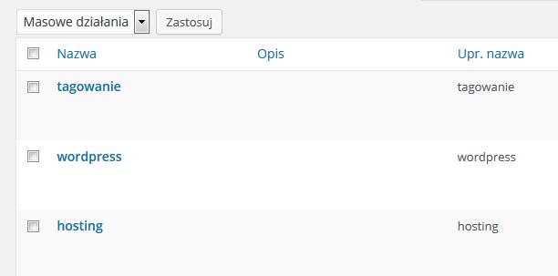 Panel WordPress - Wpisy - Tagi - Przykładowy widok nowo dodanych tagów na liście