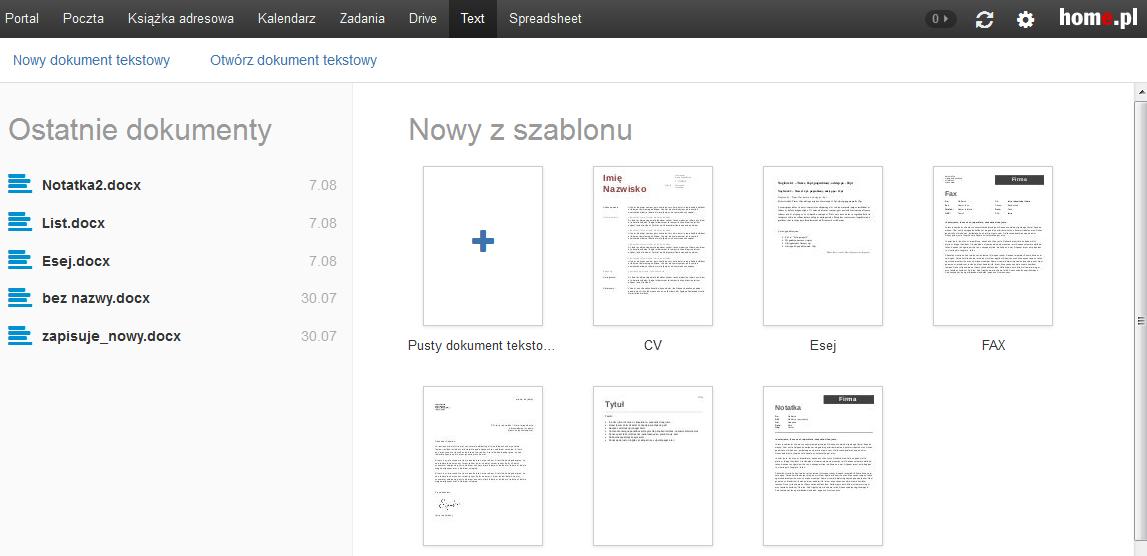 Poczta home.pl - Wybierz zakładkę Text