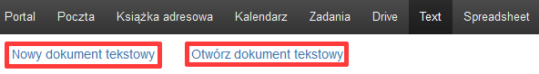 Poczta home.pl - Text - Kliknij przycisk Nowy dokument tekstowy lub Otwórz dokument tekstowy