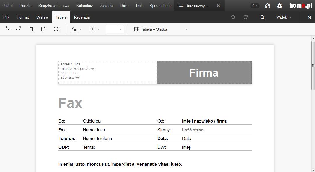 Poczta home.pl - Text - Otwórz dokument tekstowy - Wprowadź odpowiednie zmiany w edytorze tekstu online