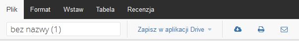 Poczta home.pl - Text - Otwórz dokument tekstowy - Edytor tekstu online - Wybierz zakładkę Plik i ustaw nazwę dla otworzonego dokumentu