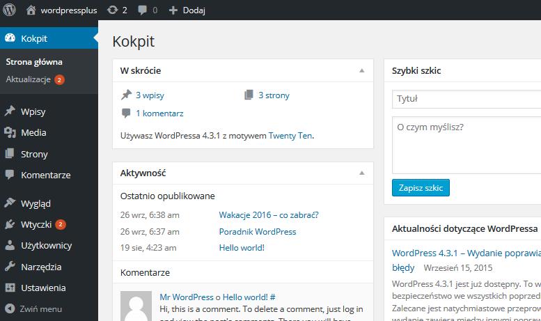 Panel WordPress - Kokpit - Przykładowy widok strony głównej panelu administracyjnego