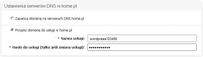 Panel Klienta - Usługi - Konfiguracja usługi - Konfiguruj - Ustawienia serwerów DNS w home.pl - Wybierz opcję Przypisz domenę do usługi w home.pl