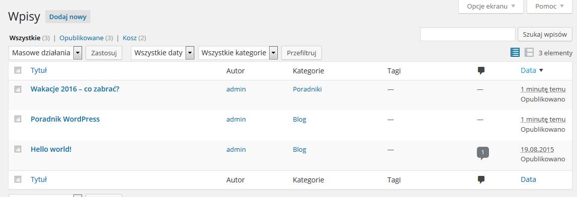 Panel WordPress - Wpisy - Lista wszystkich wpisów