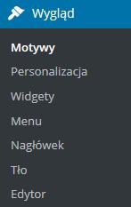 Panel WordPress - Wygląd - Wybierz opcję Widgety