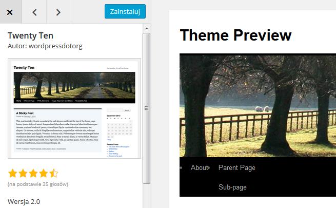 Panel WordPress - Wygląd - Motywy - Podgląd - Potwierdź instalację klikając przycisk Zainstaluj