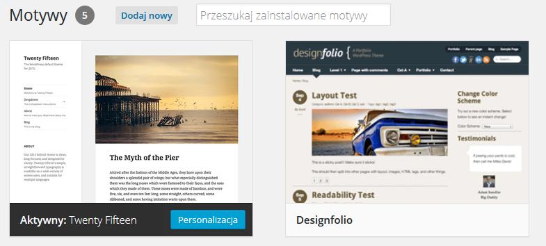Panel WordPress - Wygląd - Motywy - Zmień szablon strony WWW