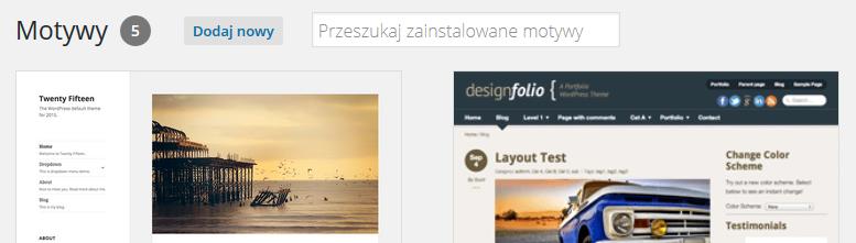 Panel WordPress - Wygląd - Motywy - Kliknij przycisk Dodaj nowy