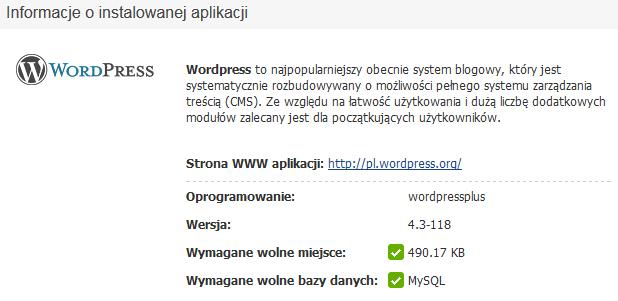 Panel Klienta - Usługi - Konfiguracja usługi - Utwórz serwis WWW - Autoinstalator aplikacji WWW - WordPress - Sprawdź jaką wersję oprogramowania instalujesz