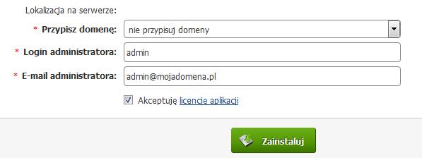 Panel Klienta - Usługi - Konfiguracja usługi - Utwórz serwis WWW - Autoinstalator aplikacji WWW - WordPress - Lokalizacja na serwerze - Przypisz domenę