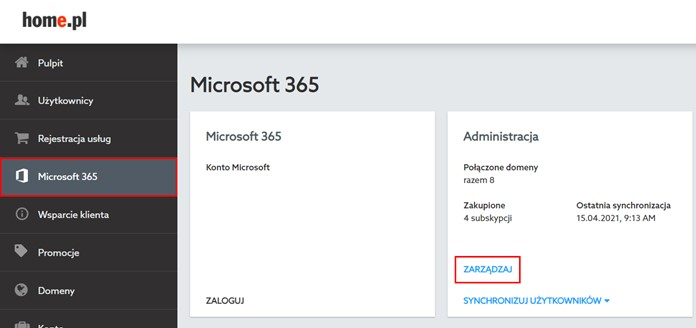 home.pl panel klienta Microsoft 365