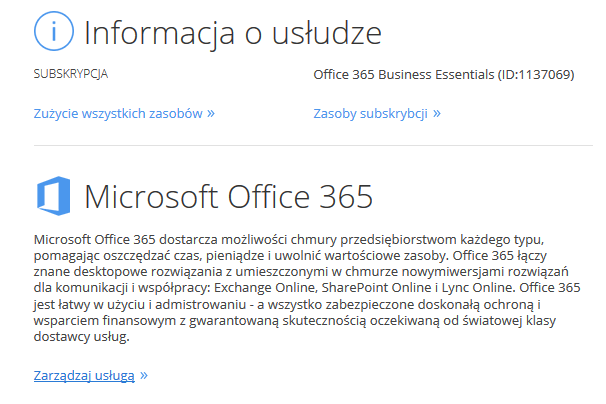 Panel Klienta - Rozwijane menu - Office 365 - Informacje o usłudze - Wybierz opcję Zarządzaj usługą