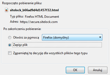 SiteLock - Ikona konfiguracji - Opcja 2 Zweryfikuj domenę za pomocą przekazania do katalogu głównego - Rozpoczęto pobieranie pliku - Zapisz plik na dysk komputera