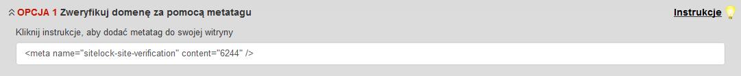 SiteLock - Ikona konfiguracji - Opcja 1 Zweryfikuj domenę za pomocą metatagu - Zaznacz i skopiuj do schowka wyświetlony ciąg znaków (Tag HTML)
